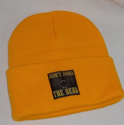 Boston Dont Poke the Bear Bruins Type Winter Knit Cap Hat Beanie GOLD Cuffed