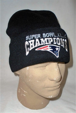 New England Patriots SuperBowl 49 Champions BLACK Winter Knit Hat Beanie Cuffed