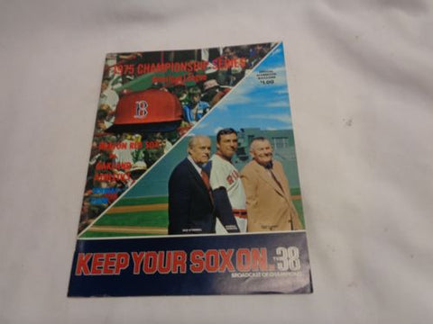 1975 ALCS Championship Series Fenway Park Boston Red Sox Program Scorecard