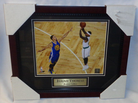 Boston Celtics Isaiah Thomas Vs Steph Curry Framed Matted Picture 13x16 Size