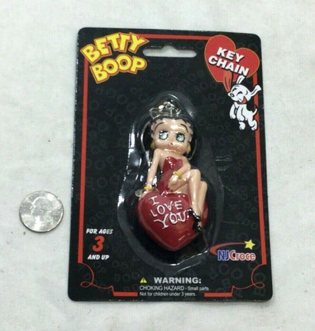 New Betty Boop I Love You Pin Up Cartoon 3D Figure Keychain Rubber FREESHIP