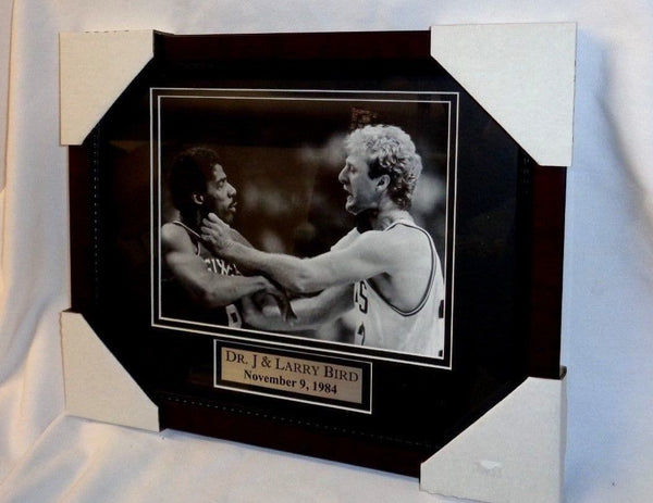Boston Celtics Dr J vs Larry Bird Fight Choke Framed Matted Picture 13x16 Size