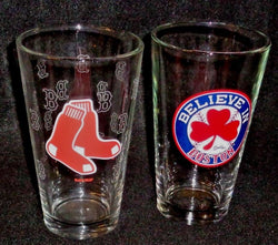 MLB Red Sox Pint Glass Set Hanging Sox Believe in Boston Beer Bar FREESHIP