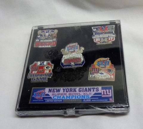 2007 Season New York Giants Super Bowl 42 World Champions 5 Pin Set FREESHIP