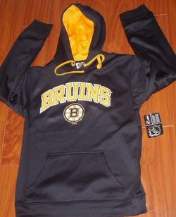 NHL Boston Bruins Black Wicking Hoodie Hooded Sweatshirt Mens Large FREESHIP