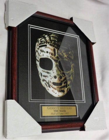 Boston Bruins HOF Gerry Cheevers Goalie Mask Framed Picture 13x16 FREESHIP