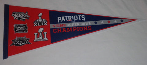 5X Superbowl Champions New England Patriots Pennant Dynasty Type FREESHIP