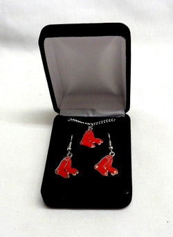 NEW Boston Red Sox Earrings Pendant Set Necklace Chain in Gift Box FREESHIP