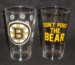 NHL Boston Bruins Pint Glass Set Dont Poke the Bear Beer Bar 2 Pieces FREESHIP