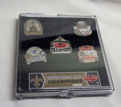 2009 New Orleans Saints Super Bowl 44 World Champions 5 Pin Set (PSG) FREESHIP