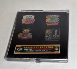 Green Bay Packers 4x Super Bowl Champions 4 PiGreen Bay Packers 4x Super Bowl Champions 4 Pin Set Rodgers Lombardi Favren Set Rodgers Lombardi Favre