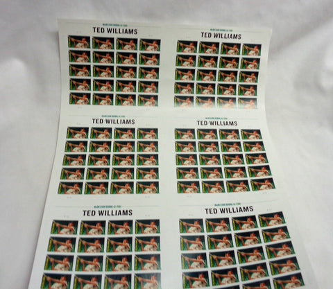 2012 Boston Red Sox HOF Ted Williams Baseball Uncut Press Sheet of 120 Stamps