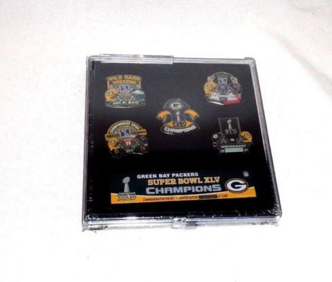 2010 Green Bay Packers Super Bowl 45 World Champions 5 Pin Set Rodgers FREESHIP