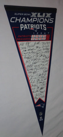 2014 Superbowl 49 Champions New England Patriots Pennant Team Roster Signature