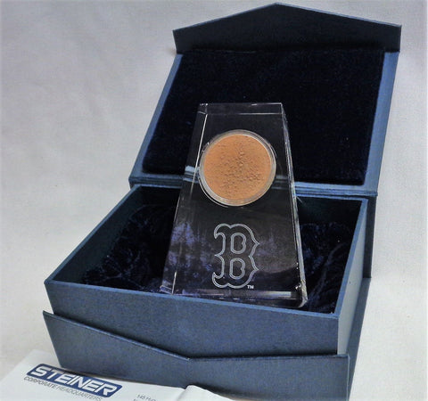 Steiner Sports Boston Red Sox Game Used Dirt Crystal Desk Display Certified