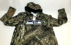 NFL Seattle Seahawks Mossy Oak Camo Hoodie Hooded Sweatshirt Mens Large FREESHIP