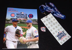 2016 World Series Chicago Baseball Magazine Program Cubs Ticket Lanyard Pin Lot