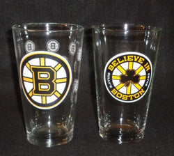 Boston Bruins Pint Glass Set Believe in Boston Beer Bar 2 Piece Set Shamrock