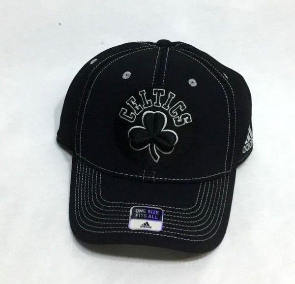 NEW Boston Celtics Adidas Locker Room Black Flex Fit One Size Hat Cap FREESHIP