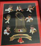 Boston Red Sox 2007 World Series Champions Framed Player Pin Set Trophy Piece