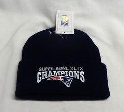 New England Patriots SuperBowl 49 Champions BLUE Winter Knit Hat Beanie Cuffed