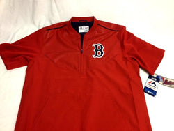 Boston Red Sox Majestic Red Home Batting Warm Up Jacket Pull Over Size Large
