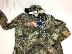 New England Patriots Mossy Oak Camo Hoodie Hooded Sweatshirt Mens Large FREESHIP