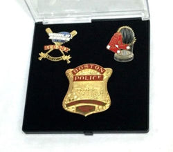 Red Sox 2004 World Series Champions BPD Boston Police Badge Trophy Pin Set RARE