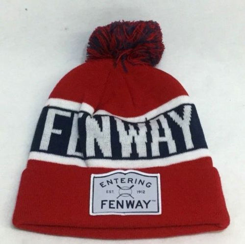 Boston Entering Fenway Winter Knit Cap Hat Beanie Pom Pom Red Sox Theme FREESHIP