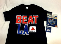 Beat LA Citgo Sign Boston T Shirt Size Large MLB World Series Patch Pin Lot