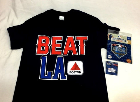 Beat LA Citgo Sign Boston T Shirt Size Medium MLB World Series Patch Pin Lot