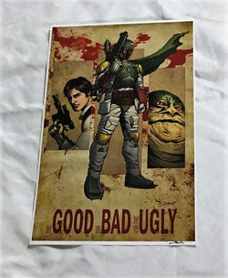 Star Wars The Good Bad Ugly Boba Fett Han Solo Jabba Hutt Poster Picture 11x17