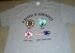 Boston Red Sox Patriots Bruins Celtics Decade of Dominance T Shirt Size Large
