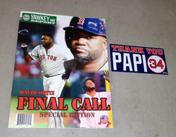 Yawkey Way Report Red Sox Program David Ortiz Final Game Day & Thank You Sticker