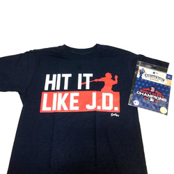 "Red Sox ""Hit it Like JD"" Martinez T Shirt Size XLarge World Champions Patch Lot"