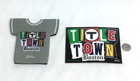 Red Sox Patriots Bruins Celtics Title Town Boston Bottle Jersey Coozie & Sticker