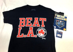 Beat LA Believe in Boston T Shirt Size Large MLB World Series Patch Pin Lot