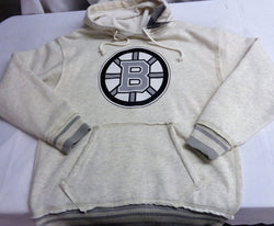 Old Time Hockey Boston Bruins Cotton Grey Hoodie Hooded Sweatshirt Mens Large