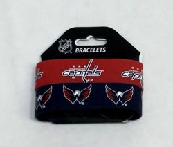 NHL Washington Capitals 2 Pack Bracelet Wrist Bands Set Rubber PVC Type FREESHP