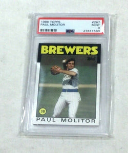1986 Topps Baseball #267 Brewers HOF Paul Molitor PSA 9 Original FREESHIP