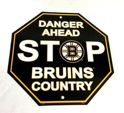 Boston Bruins Plastic Diecut Stop Street Sign 12x14 Bruins Country FREESHP