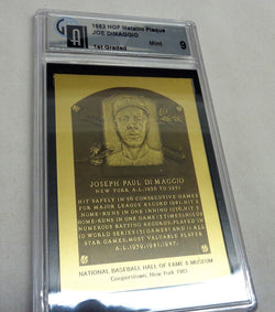1983 Baseball Hall of Fame Plaque Metallic Yankees Joe Dimaggio GAI 9 Mint