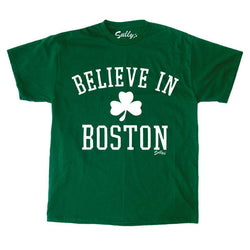 Celtics Theme Believe in Boston Green Shamrock T Shirt Size Large FREESHIP