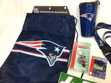 New England Patriots Backpack Bag Travel Mug Cup Keychain Lanyard Sticker Lot