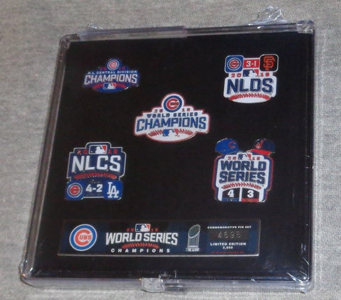 Chicago Cubs 2016 World Series Champions 5 Pin Set Sealed Limited FREESHIP