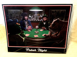 Poker Night Patriots Celtcs Red Sox Bruins Mascot Party Wall Print Poster 16x20