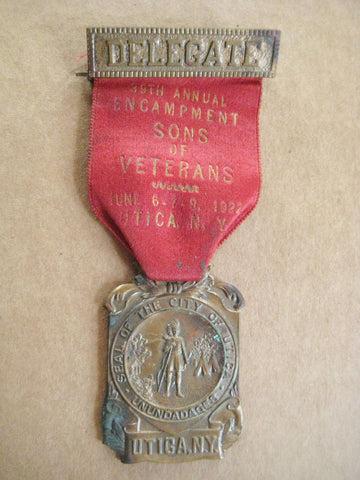 Civil War Sons of Veterans 39th Encampment Delegate Medal 1922 Utica,NY.