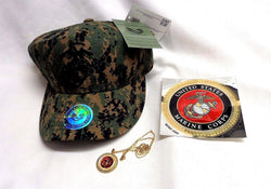 NEW US Marine Corps USMC Marpat Camo EGA Hat Cap Necklace Sticker Decal Lot