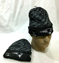 New England Patriots New Era On Field Sideline Black / White Knit Hat Beanie