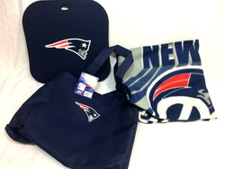 New England Patriots Stadium Canvas Tote Bag Seat Cushion & Fleece Blanket Set
